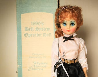 Vintage 1890's Bell System Operator Doll Auburn Hair Blue Eyes ~ Pioneers of America ~ Like New Collectible Doll Gift for Her