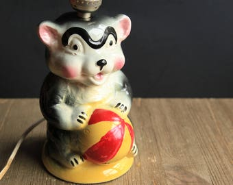 Vintage Ceramic Bear w/ ball Lamp ~ Childrens Boy Room Decor Collectible Black Bear holding Red & Yellow Ball Figurine Lamp Base