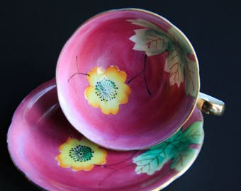 Vintage Hand Painted Pink Floral Tea Cup w/ Saucer ~ Yellow Flower, Green Leaves ~ Mid Century Porcelain China ~ Tea Party