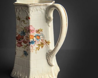 Antique Imerpial Bonn Germany Ludwig Wessel Porcelain Pitcher Wild Flower Bouquet Daisies & Poppies ~ Vintage Ceramic Pottery 1875 - 1900