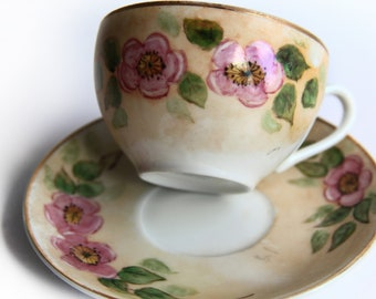 Vintage M.P. Occupied Japan Hand Painted Floral Tea Cup & Saucer ~ Pink Cherry / Plum Blossoms ~ Mid Century China