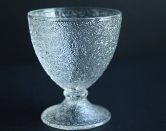 Antique Tree of Life Glass Goblet ~ EAPG Early American Pattern Glass ~ Portland Glass & Co 1863 -1873 Victorian Glassware