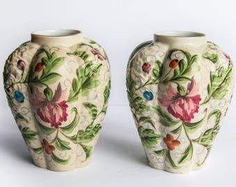 Vintage Pair Porcelain Urn Style Floral Vases ~ Pink & Blue Flowers Green Leaves Hand Painted Shabby Chic Cottage Home Decor