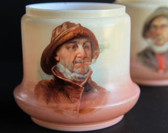 Vintage Painted Milk Glass Humidor / Jar ~ Sailor / Fisherman Smoking Pipe ~ Austrian ~ Tobacciana