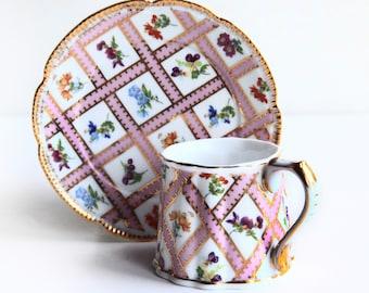 Vintage Victoria's Garden Demitasse Cup & Saucer ~ Pink w/ Gold Lattice Floral Design ~ Espresso, Turkish Coffee, Tea Cups ~ Victorian Style