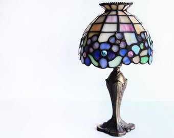 Retired Leaded Glass Partylite Hydrangea Tealight / Votive Lamp ~ Tiffany Style Stained Glass Candle Lamp ~ Candlelit / Candlelight Dinner