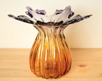 Vintage Murano Art Glass Vase Amber to Purple Ribbed w/ Pulled  Leaves ~ Decorative Collectible Studio Hand Blown Glass Gift Ideas