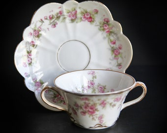 Haviland Limoges Bouillon Cup w/ Saucer ~ Two Handled Soup / Broth Cup ~ France ~ Theodore Haviland China ~ Pink Flowers