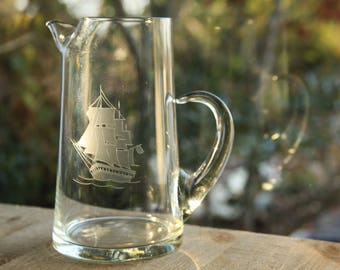 Etched Clipper Ship Nautical Clear Glass Pitcher ~ Vintage Maritime Cocktail / Martini Carafe ~ Retro Glassware