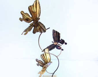 Mid Century Brass Butterfly Sculpture ~ Jere Style ~ Vintage Stone & Metal Minimalist Art Home Decor ~ Retro 1960's  Mid Century Modern