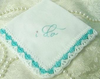 Braut Taschentuch, Hochzeit Taschentuch, ich tun, gehäkelten, Braut Andenken, Türkis, etwas blau, Strauß Geschenkpapier, personalisierte, bereit um zu versenden