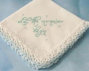 Hochzeit Taschentuch, etwas blau braut Andenken, gehäkelten, handbestickt, Spitze, bereit zu versenden
