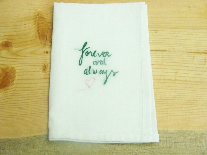 Gift for Men Personalized Men/'s Handkerchief Sweetheart Hanky Forever and Always Men/'s Gift Ready to ship Hand Embroidered