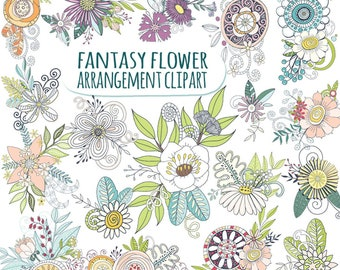 Whimsical Flower Clip Art, Boho Floral Bouquets, Arrangements & Compositions, Design Elements, Fantasy Flower PNG digital graphics