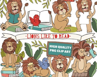 Cute Lion ClipArt Images, Love of Reading, Children Book Lover Printable Digital Graphics Download, PNG Animals, Zoo, Circus