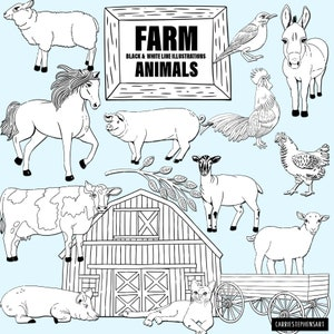 Painted Farm Animal Illustrations Kitten lamb Baby Nursery Cow Silo Chicken Coop Horse Cute Baby Animal ClipArt Pig Duck Donkey