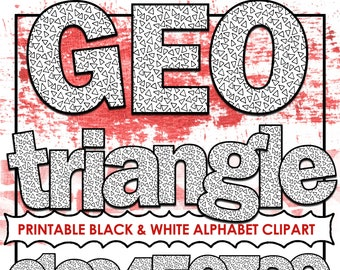 Triangle PRINTABLE Alphabet Clip Art Letters, Black & White Coloring Letters, Print and Color, PNG Digital Alpha