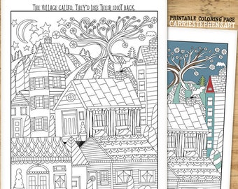 Coloring Page Printable Village Idiot Funny Colouring For Sassy Adults Tiny Houses Cute Folk Art Scene
