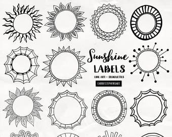Sunshine Labels, Circle Border Clipart, Round Border Graphics, Printable Text Box for stationery, invitations, Easter cards, Summer