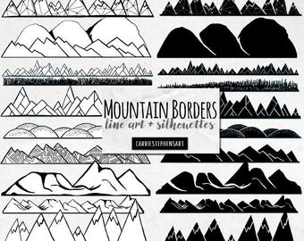 Mountain Border ClipArt, Mountain Range Line Art & Silhouette, Hand Drawn PNG Graphics, Black and White, Black Page Dividers, Travel