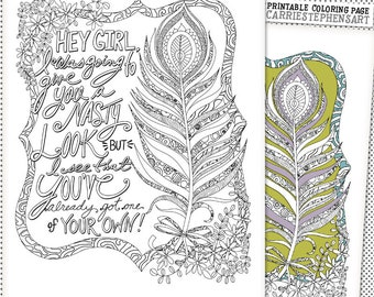 Boho Coloring Page Peacock Feather Printable Instant Download Hand Drawn Adult Colouring Book Sassy Quote Humor Nasty Look