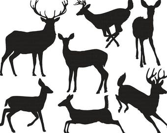 Deer Clip Art Silhouettes Outlines Buck And Doe Party Christmas Reindeer ClipArt Animal Digital Graphics PNG Images