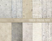 Birch Rustic Wood Digital Paper Pack, Country Farmhouse Wedding Scrapbooking Paper, JPG Printable Paper, Natural Woodland Baby