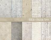 Birch Wood Digital Paper Pack, Country Wedding Wood Grain, Spring Scrapbook Background ClipArt, Rustic Farmhouse JPG, Woodland Baby Design