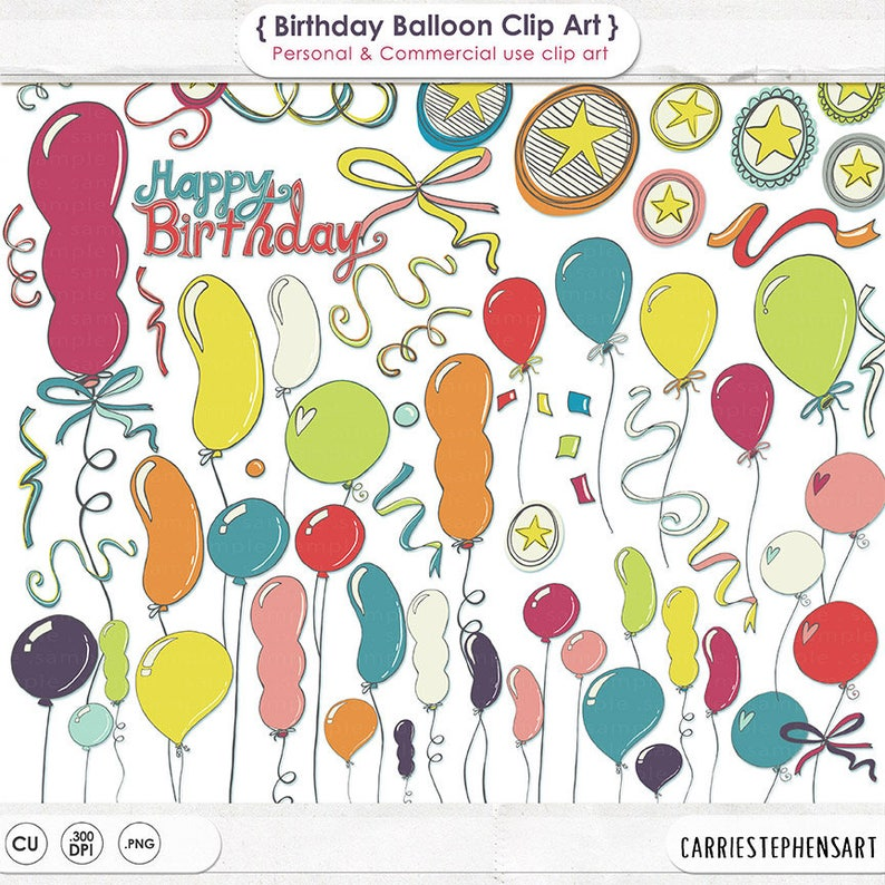 Balloon ClipArt Images DIY Birthday Party Invitation Digital