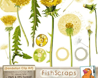 Summer Dandelion Clip Art, Spring Flower Graphics, PNG, Yellow Floral Digital Images for DIY Card Making, Logos, Instant Download