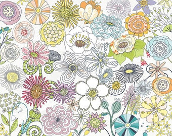 Fantasy Flowers ClipArt 01, Colorful Flower Graphic Images, Instant Download, Commercial Use Illustrations, Design Cards, Prints & T-shirts