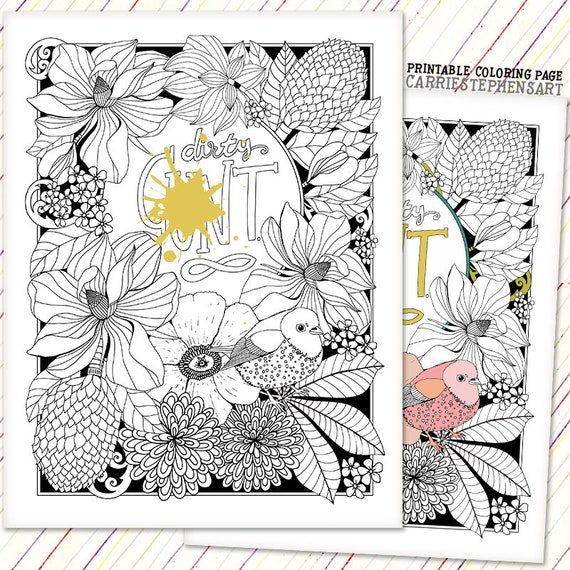 Adult Colouring Page Swear Word Coloring Book Page Dirty | Etsy