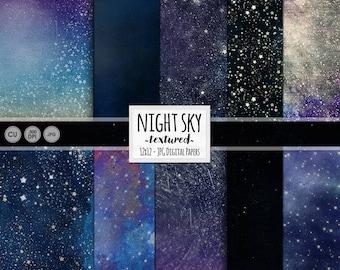 Starry Skies Digital Paper, Cosmic Galaxy Background, Star Digital Paper, Night Sky, Outer Space, Navy Blue Scrapbook Paper