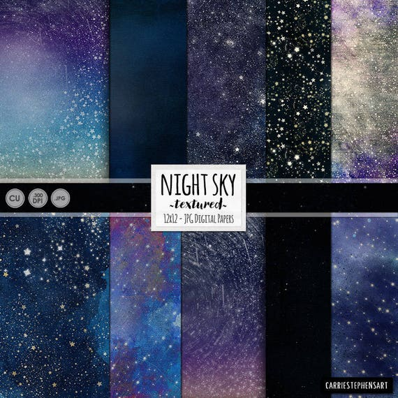 Starry Skies Digital Paper Cosmic Galaxy Background Star Etsy