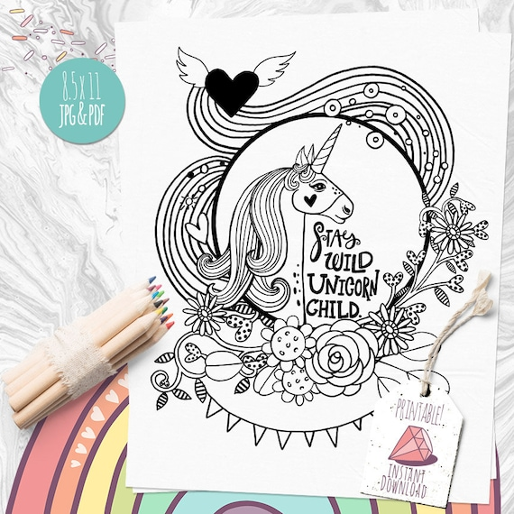 Unicorn Coloring Page Magical Fairytale Transfer Image Stay Wild Rhcatchmyparty: Wild Unicorn Coloring Pages At Baymontmadison.com