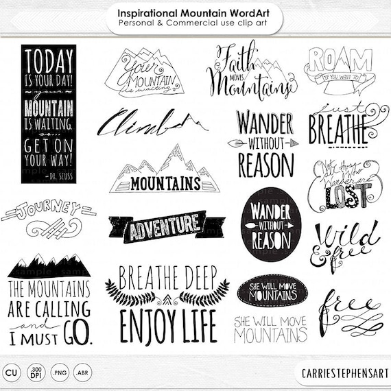 Amazing Life Quotes For Inspiration Free Printable Cards: Mountain Word Art PNG & Inspirational Quote Clip Art