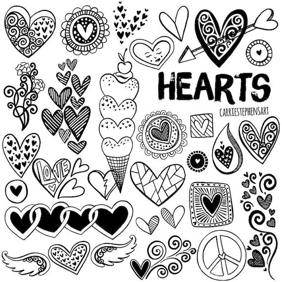 Line Heart Border Clipart Heart Digital Stamps Printable Border