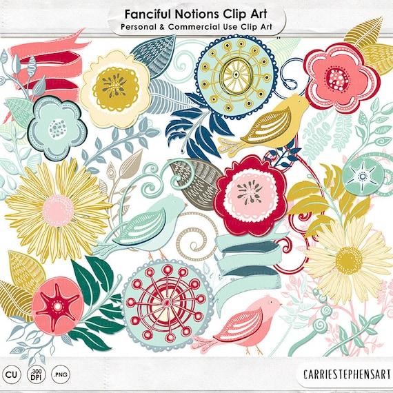 Colorful Flowers Clipart Retro Kitchen Floral Wreath Graphic Design