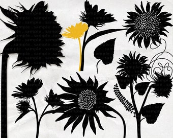 SunFlower Clip Art Silhouettes, Bohemian Summer Flower ClipArt, Country Wedding Graphic, Digital Stamps, PNG + PS Brush