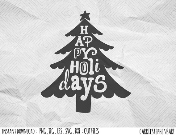 Happy Holidays SVG files for Silhouette, Christmas Tree