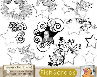 Star Digital Frame ClipArt, Swooshy Shooting Star Label Clip Art, PNG & Photoshop Brush, Graduation, School Teacher