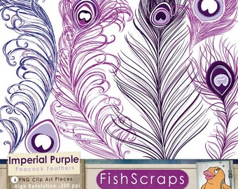 Plum Purple Peacock Feather Clip Art, Peacock Feather Graphics for Small Business Commercial Use, Violet, Wine, Plum Wedding