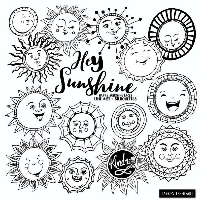 Sunshine Doodle Face Clipart Summer Sun Art Journal Digital