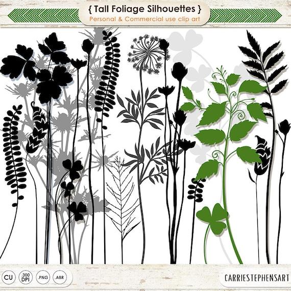 Haut feuillage Clip Art, longue tige fleurs et Silhouettes de feuilles, herbes botaniques timbres numériques, de l'usine graphiques PNG + brosses Photoshop