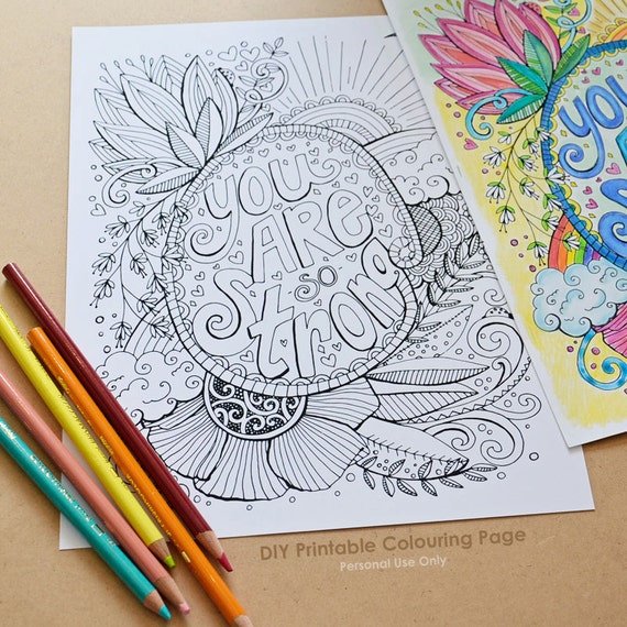 DIY Printable Coloring Page You Are Strong Anti Stress Adult | Etsy