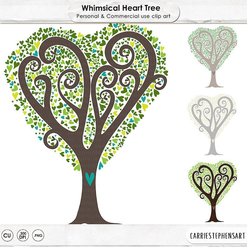 Heart Tree ClipArt Printable Digital Image Download Love ...