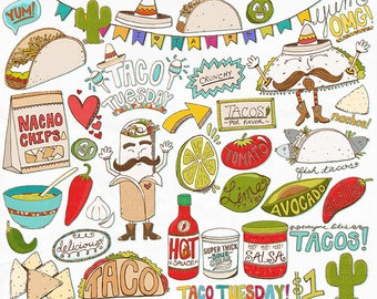 Mexican Fiesta Clip Art, Taco Tuesday, Cinco De Mayo ClipArt, Birthday Party Menu, Food, T-Shirt Graphic Design, Instant Download, Hot Sauce