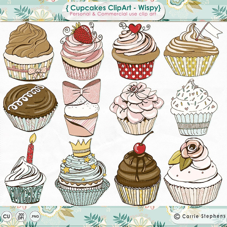Pink Cupcake ClipArt Girl Birthday Party Digital Graphics