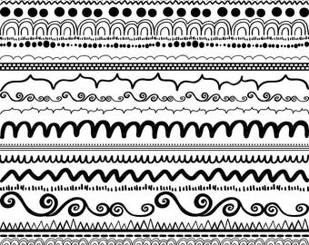 Border Doodle Clip Art, PNGs + Photoshop Brush, Border ClipArt, Dashes, Scallops, Zig Zags, Dots, Whimsical Dividers