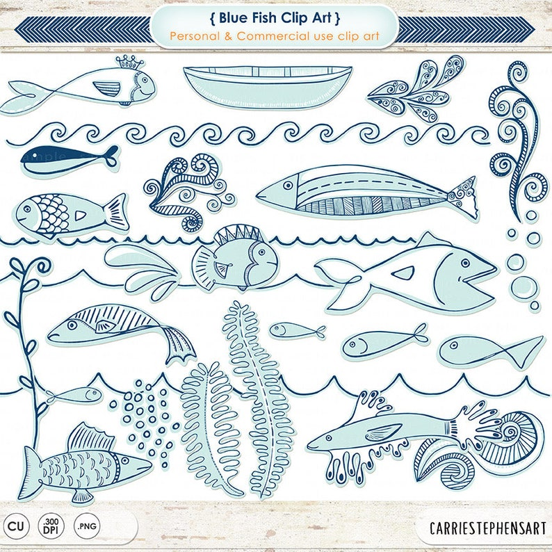 e1e9aa8a7972 Blue Fish ClipArt, Cute Blue and White Doodle Fish, Nautical Sea Life,  Ocean Aquarium Images, Under the Sea Graphics, Vacation Scrapbook